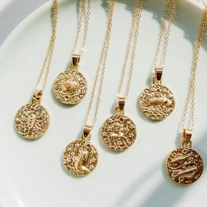 Zodiac Sun Sign Hammered Metal Style Necklaces